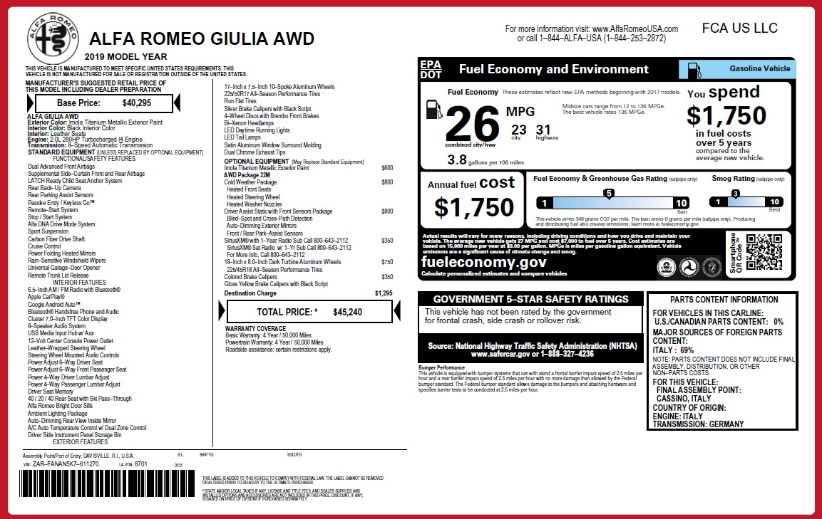 New 2019 Alfa Romeo Giulia Q4 For Sale In Greenwich, CT 2947_p21