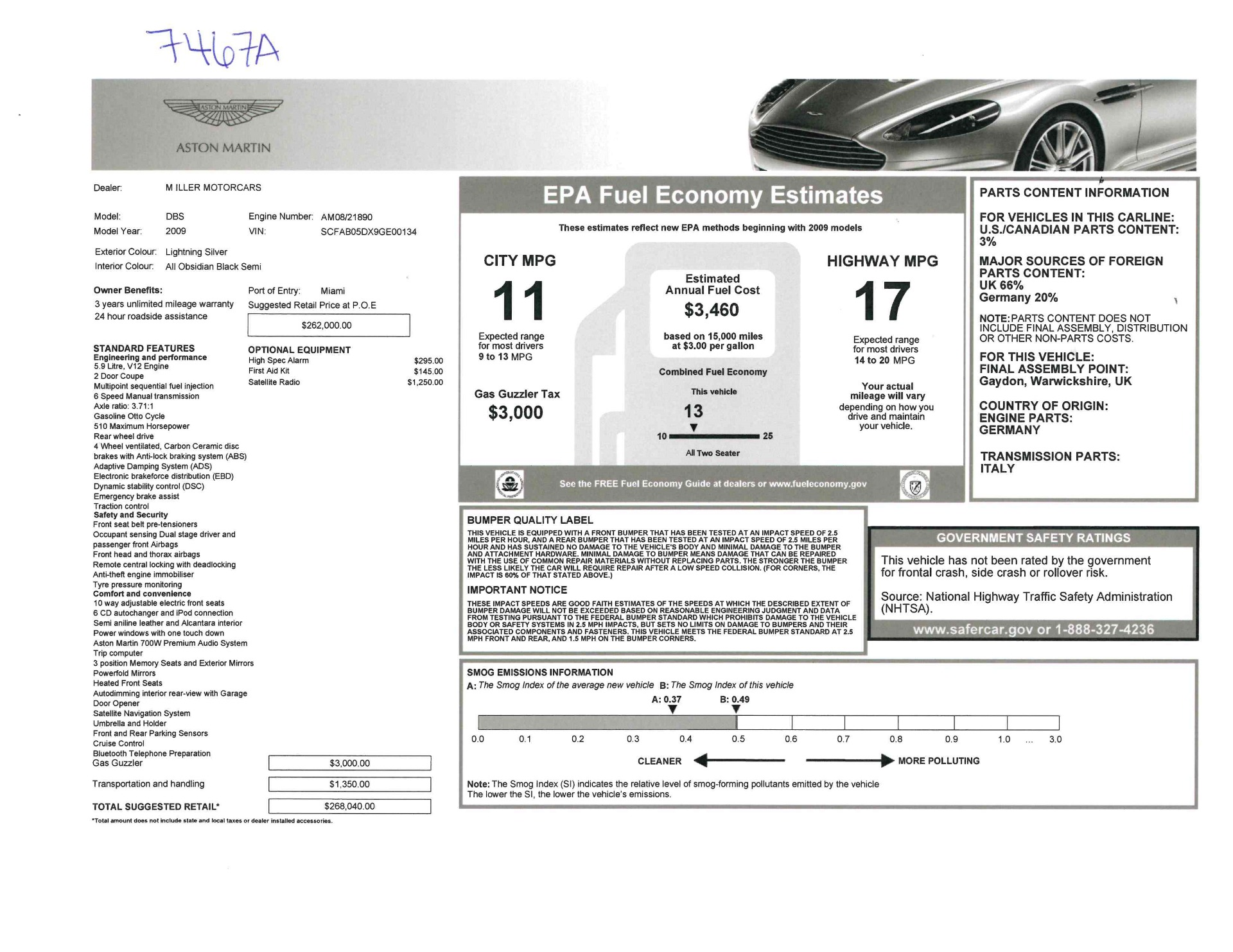 Used 2009 Aston Martin DBS Coupe For Sale In Greenwich, CT 3033_p26