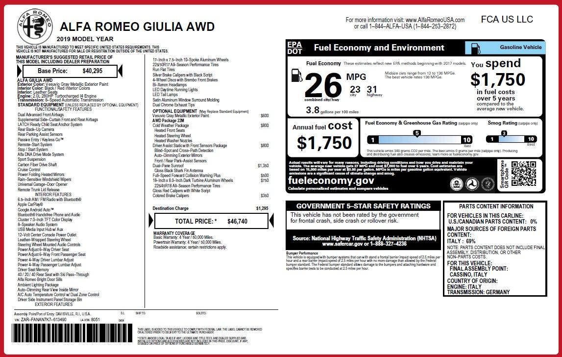 New 2019 Alfa Romeo Giulia Q4 For Sale In Greenwich, CT 3073_p2