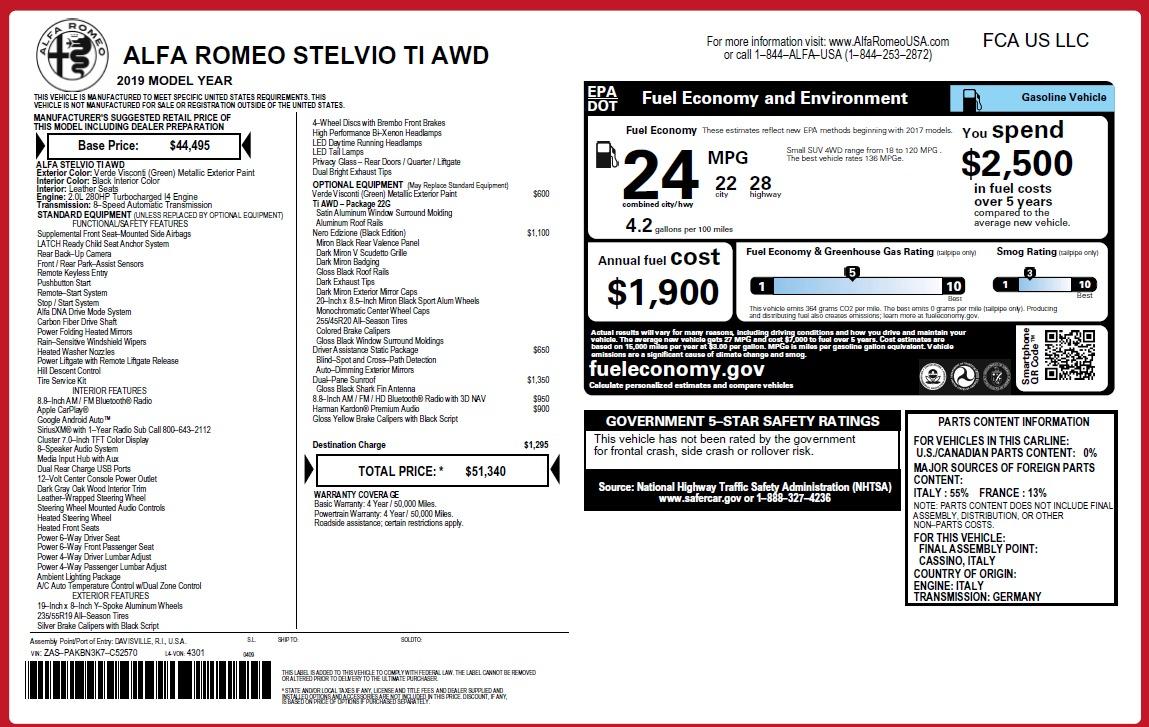 New 2019 Alfa Romeo Stelvio Ti Q4 For Sale In Greenwich, CT 3092_p2