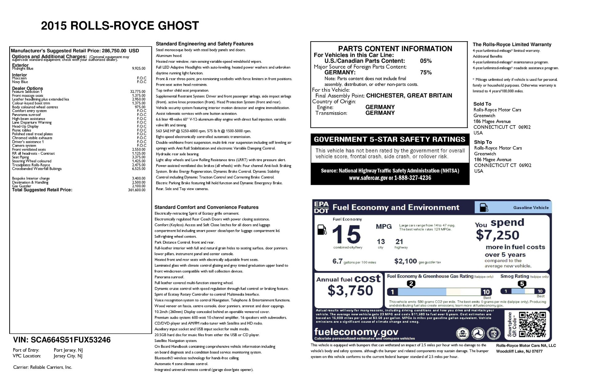 Used 2015 Rolls-Royce Ghost  For Sale In Greenwich, CT 3113_p46