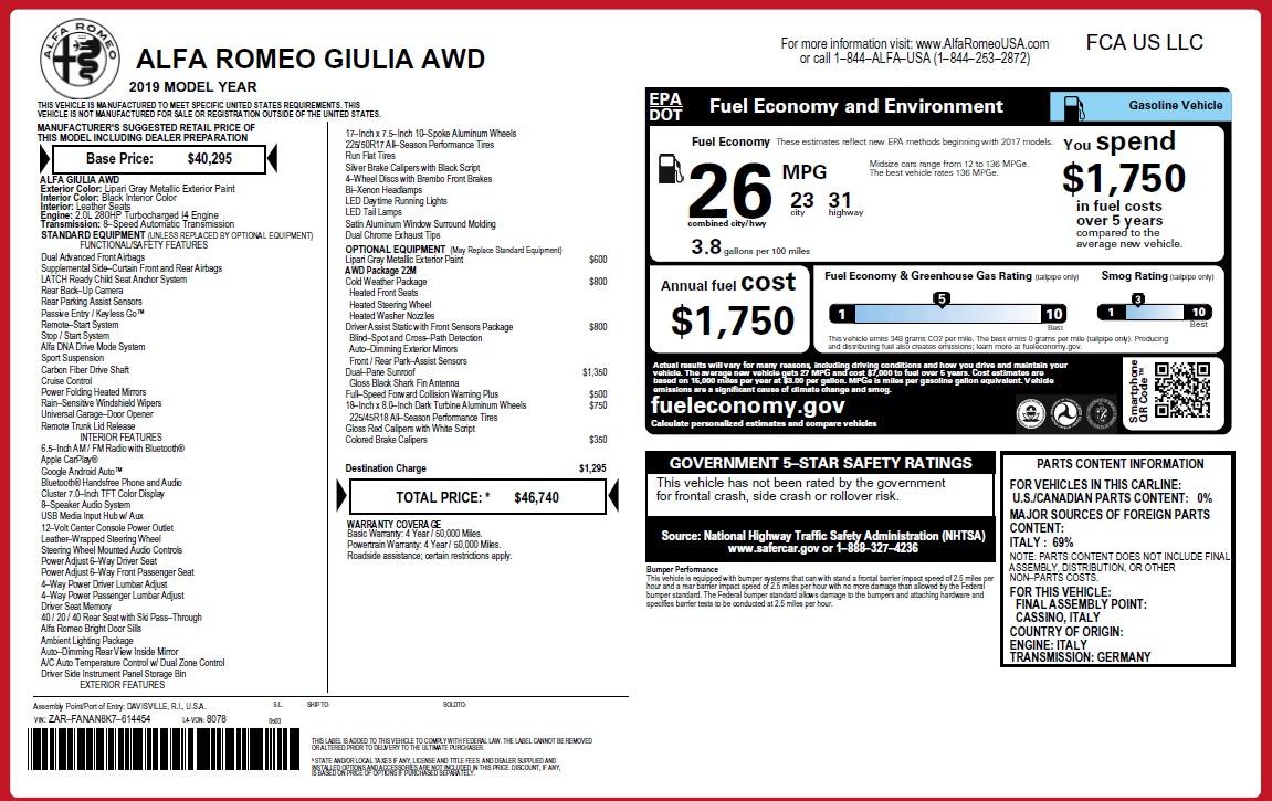 New 2019 Alfa Romeo Giulia Q4 For Sale In Greenwich, CT 3174_p31