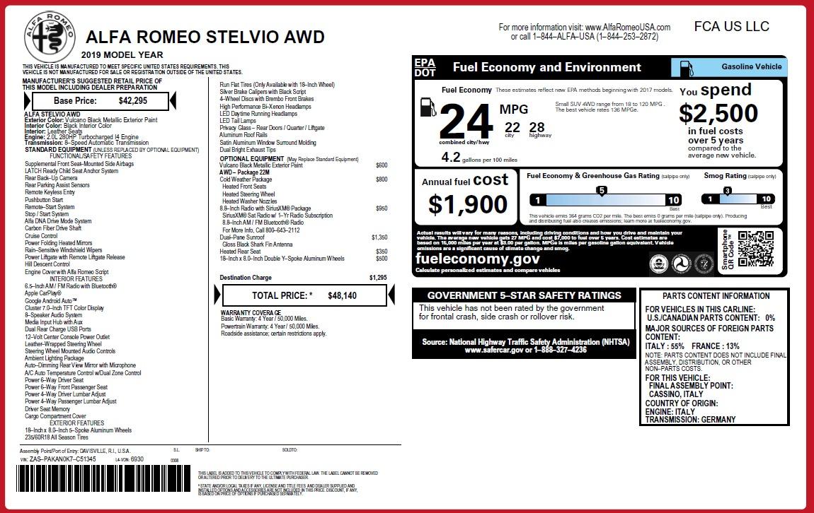 New 2019 Alfa Romeo Stelvio Q4 For Sale In Greenwich, CT 3238_p2