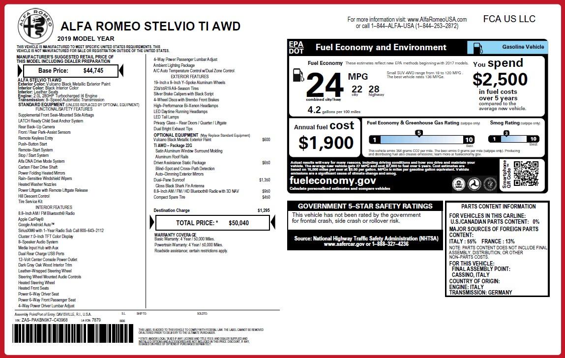 New 2019 Alfa Romeo Stelvio Ti Q4 For Sale In Greenwich, CT 3252_p31