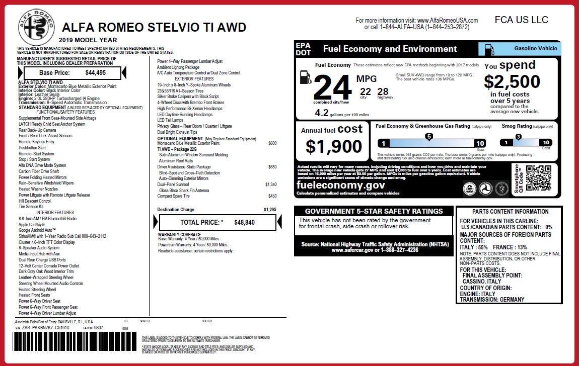 New 2019 Alfa Romeo Stelvio Ti Q4 For Sale In Greenwich, CT 3258_p2