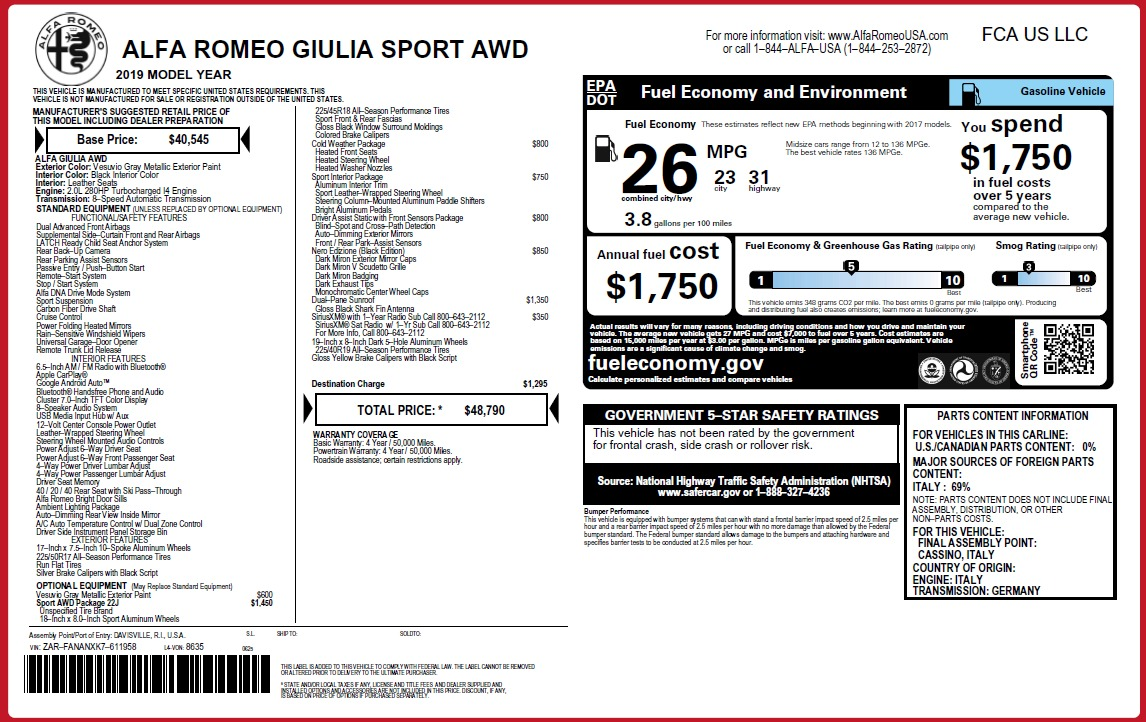 New 2019 Alfa Romeo Giulia Sport Q4 For Sale In Greenwich, CT 3281_p2