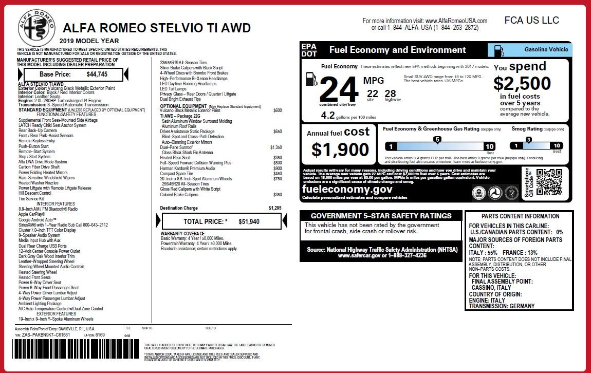 New 2019 Alfa Romeo Stelvio Ti Q4 For Sale In Greenwich, CT 3363_p31