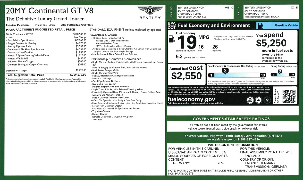 New 2020 Bentley Continental GT V8 First Edition For Sale In Greenwich, CT 3441_p34