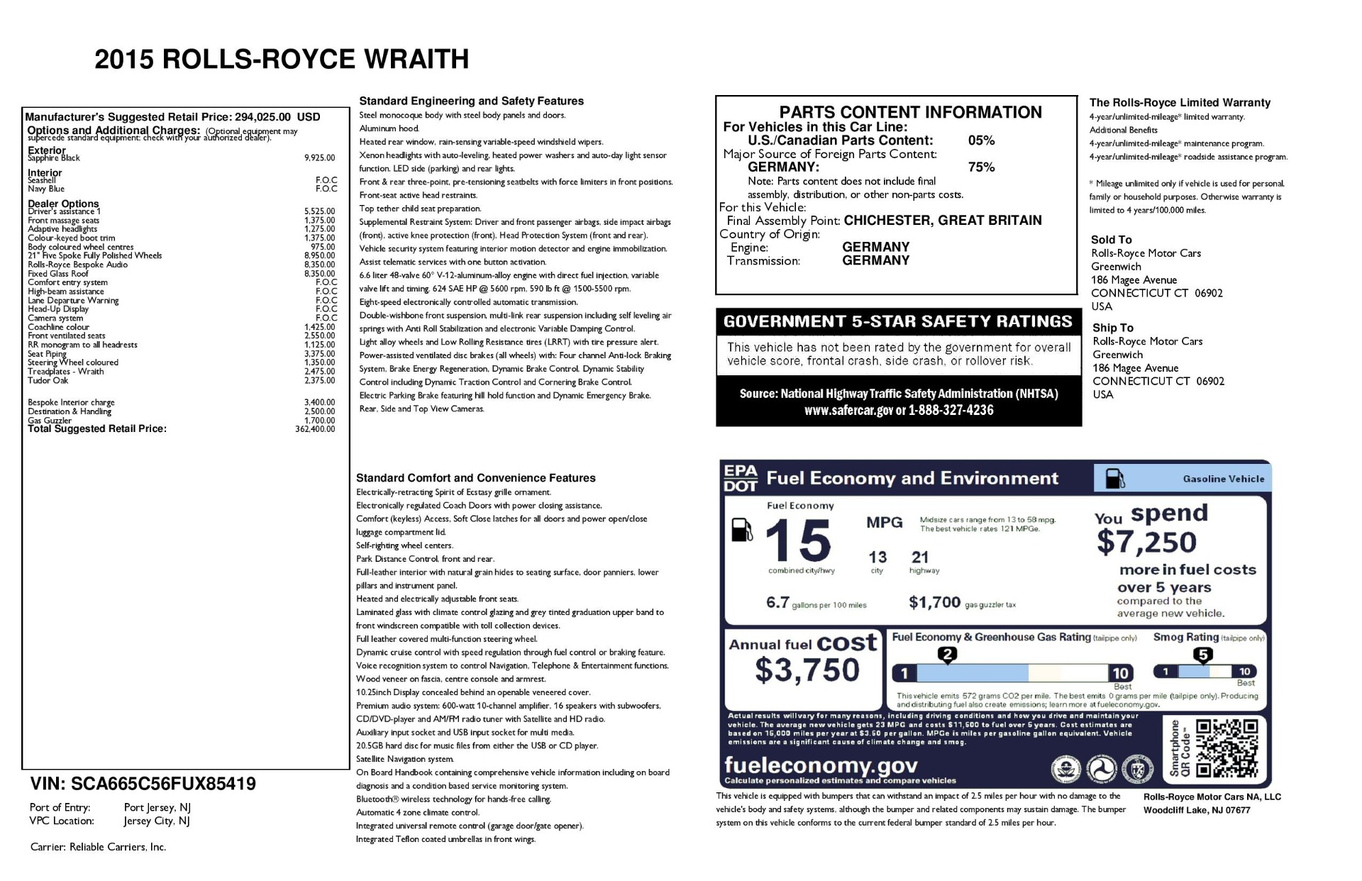 Used 2015 Rolls-Royce Wraith  For Sale In Greenwich, CT 3473_p34