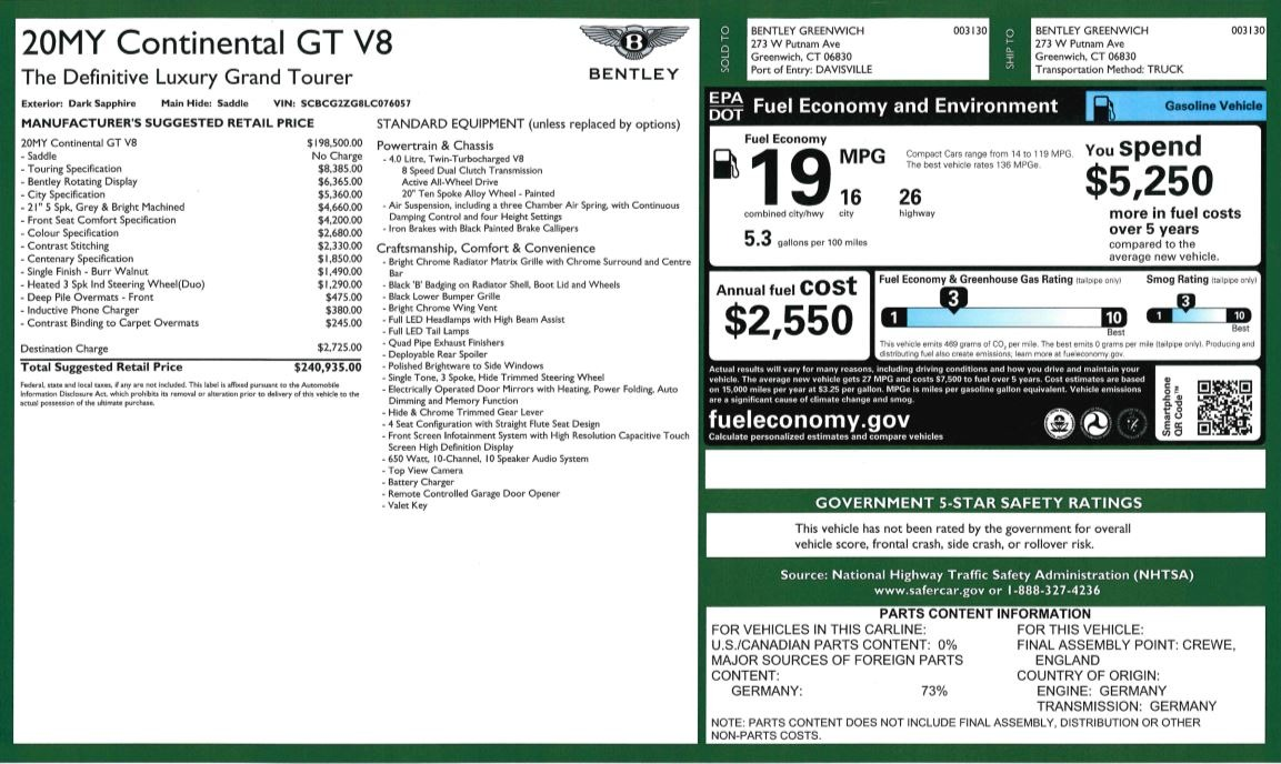 New 2020 Bentley Continental GT V8 For Sale In Greenwich, CT 3502_p31
