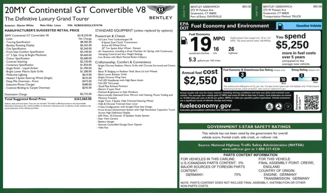 New 2020 Bentley Continental GTC V8 For Sale In Greenwich, CT 3516_p35