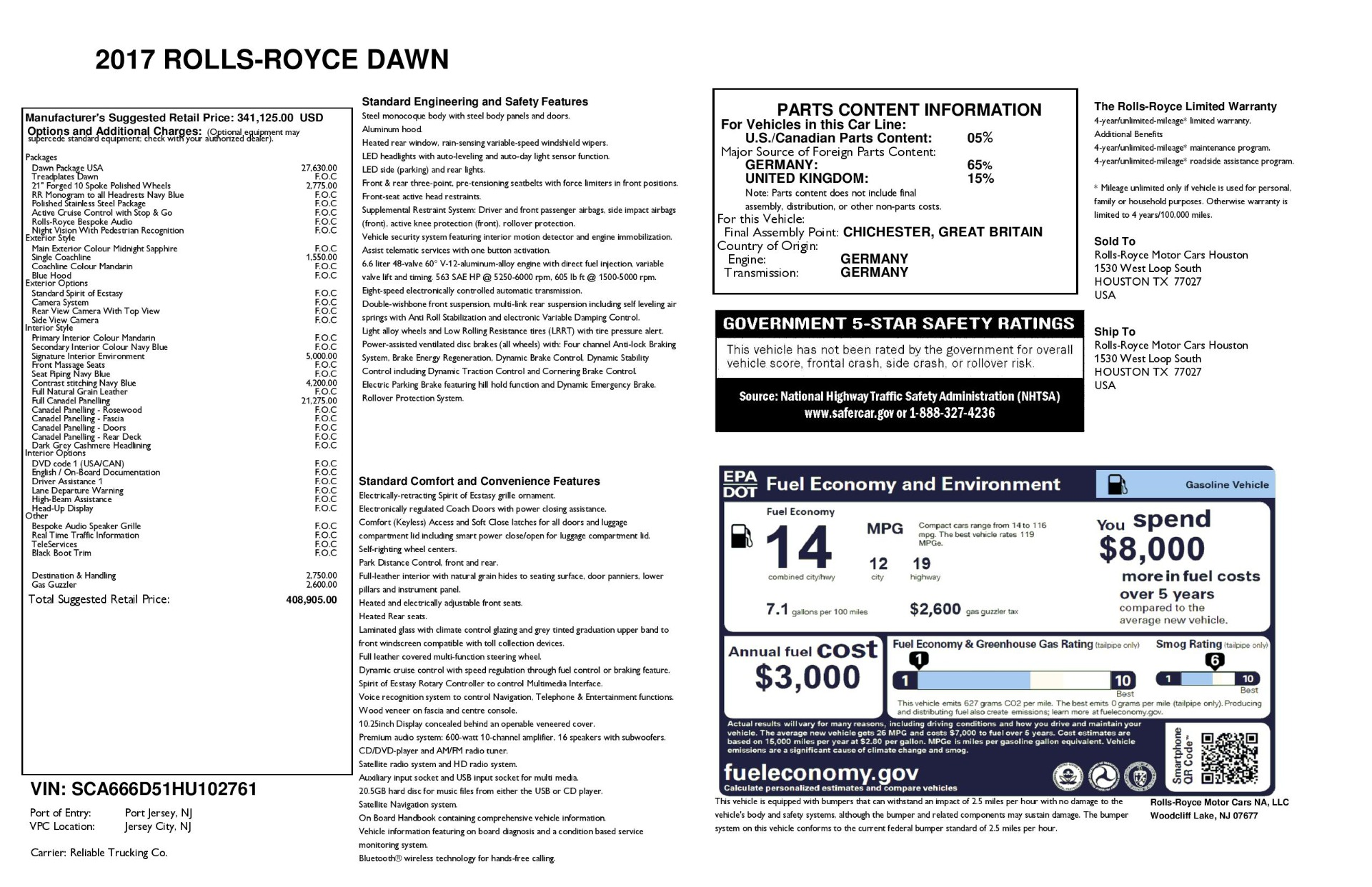 Used 2017 Rolls-Royce Dawn  For Sale In Greenwich, CT 3520_p45