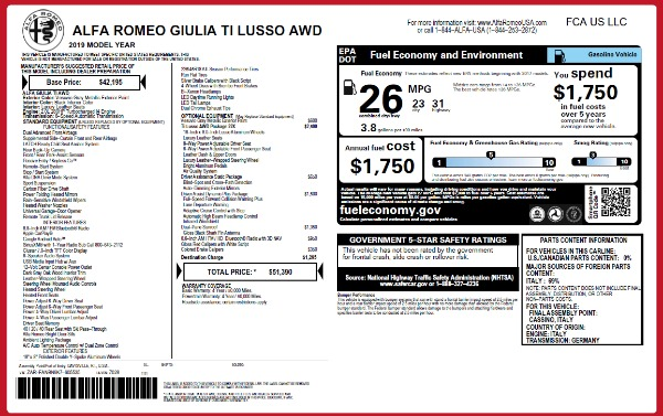 New 2019 Alfa Romeo Giulia Ti Lusso Q4 for sale $51,390 at Maserati of Greenwich in Greenwich CT 06830 2