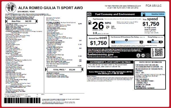 New 2019 Alfa Romeo Giulia Ti Sport Q4 for sale Sold at Maserati of Greenwich in Greenwich CT 06830 26