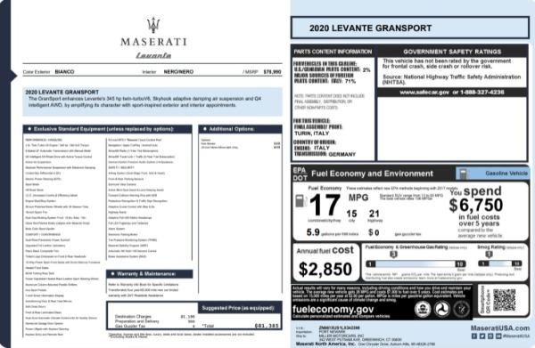 New 2020 Maserati Levante Q4 GranSport for sale $81,385 at Maserati of Greenwich in Greenwich CT 06830 23