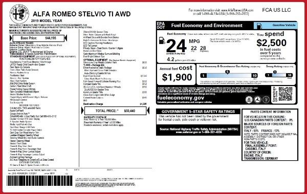 New 2019 Alfa Romeo Stelvio Ti Q4 for sale $50,440 at Maserati of Greenwich in Greenwich CT 06830 2