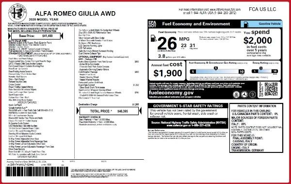 Used 2020 Alfa Romeo Giulia Q4 for sale $34,900 at Maserati of Greenwich in Greenwich CT 06830 24