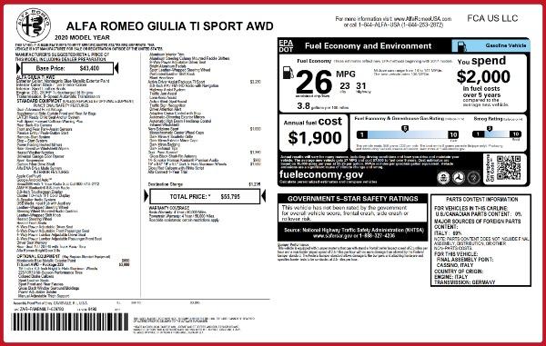 New 2020 Alfa Romeo Giulia Ti Sport Q4 for sale $55,795 at Maserati of Greenwich in Greenwich CT 06830 2