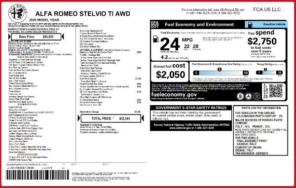 New 2020 Alfa Romeo Stelvio Ti Q4 for sale $52,545 at Maserati of Greenwich in Greenwich CT 06830 2