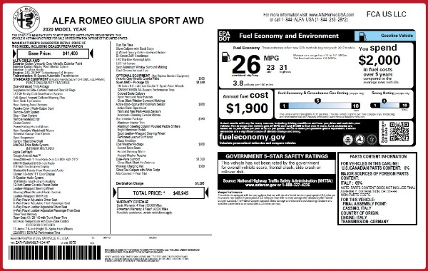 New 2020 Alfa Romeo Giulia Sport Q4 for sale $48,945 at Maserati of Greenwich in Greenwich CT 06830 2