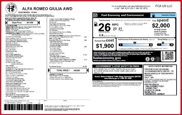 New 2020 Alfa Romeo Giulia Q4 for sale Sold at Maserati of Greenwich in Greenwich CT 06830 2