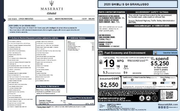 New 2020 Maserati Ghibli S Q4 GranLusso for sale $89,940 at Maserati of Greenwich in Greenwich CT 06830 6