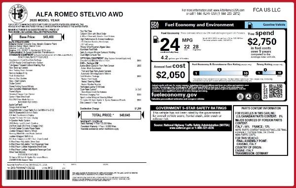 New 2020 Alfa Romeo Stelvio Q4 for sale $49,045 at Maserati of Greenwich in Greenwich CT 06830 2