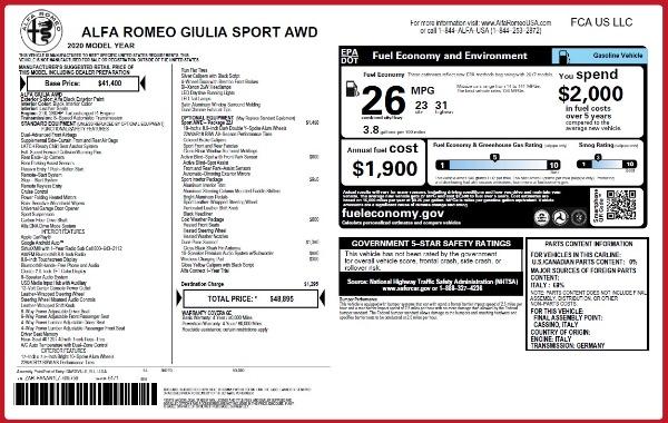 New 2020 Alfa Romeo Giulia Sport Q4 for sale Sold at Maserati of Greenwich in Greenwich CT 06830 2