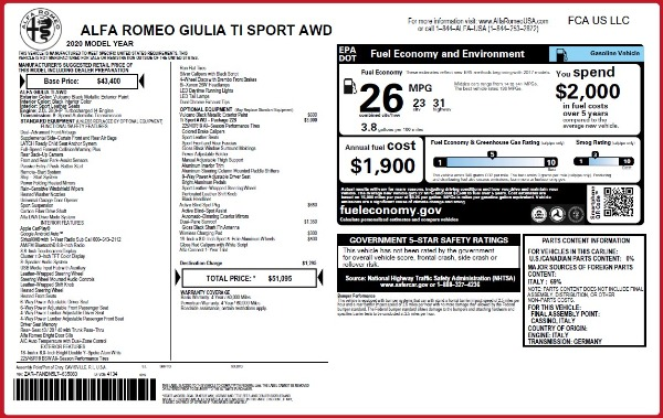 New 2020 Alfa Romeo Giulia Ti Sport Q4 for sale $51,095 at Maserati of Greenwich in Greenwich CT 06830 2