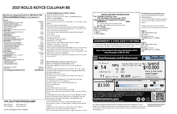 New 2021 Rolls-Royce Cullinan Black Badge for sale $433,225 at Maserati of Greenwich in Greenwich CT 06830 9