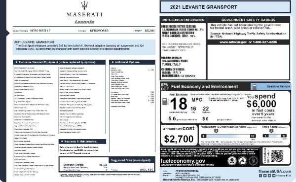 New 2021 Maserati Levante Q4 GranSport for sale $92,485 at Maserati of Greenwich in Greenwich CT 06830 27