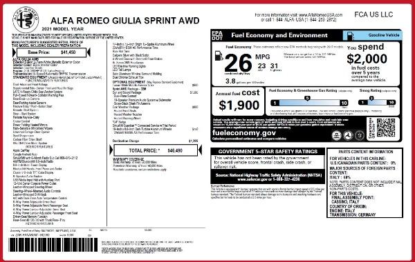 New 2021 Alfa Romeo Giulia Q4 for sale $46,490 at Maserati of Greenwich in Greenwich CT 06830 26
