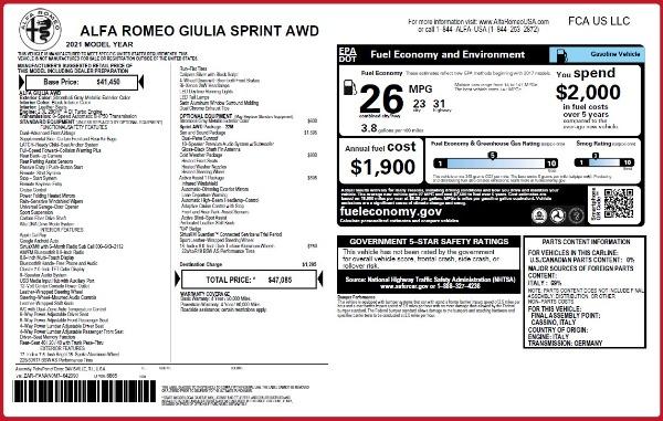 New 2021 Alfa Romeo Giulia Q4 for sale $47,085 at Maserati of Greenwich in Greenwich CT 06830 28