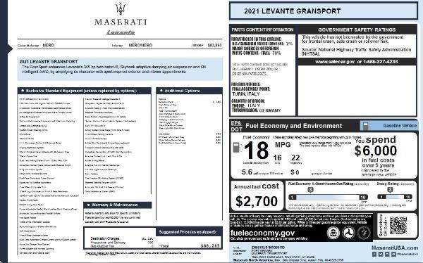 New 2021 Maserati Levante Q4 GranSport for sale $88,285 at Maserati of Greenwich in Greenwich CT 06830 2