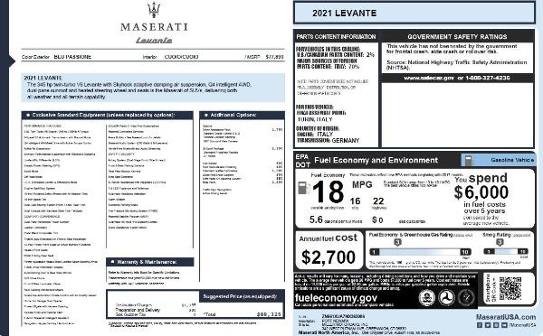 New 2021 Maserati Levante Q4 for sale Call for price at Maserati of Greenwich in Greenwich CT 06830 22