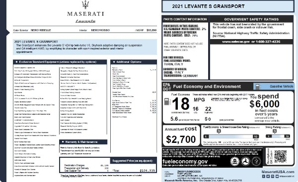 New 2021 Maserati Levante S Q4 GranSport for sale $106,935 at Maserati of Greenwich in Greenwich CT 06830 2