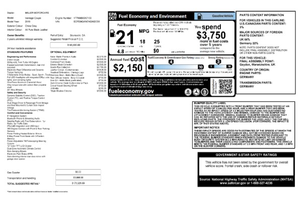 Used 2019 Aston Martin Vantage Coupe for sale $129,900 at Maserati of Greenwich in Greenwich CT 06830 23