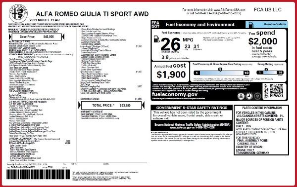 New 2021 Alfa Romeo Giulia Ti Sport Q4 for sale $53,850 at Maserati of Greenwich in Greenwich CT 06830 25