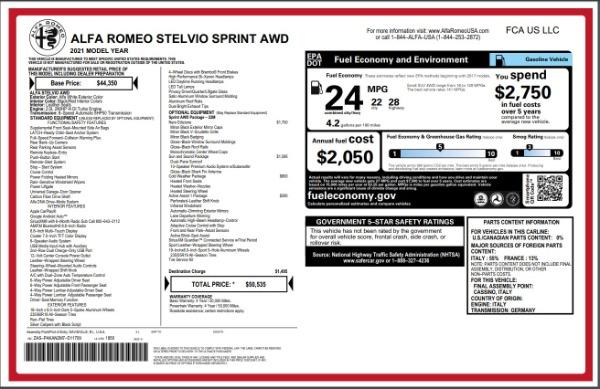 New 2021 Alfa Romeo Stelvio Q4 for sale Sold at Maserati of Greenwich in Greenwich CT 06830 28