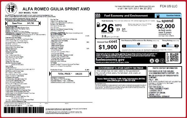 New 2021 Alfa Romeo Giulia Q4 for sale $46,235 at Maserati of Greenwich in Greenwich CT 06830 2