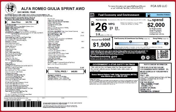 New 2021 Alfa Romeo Giulia Q4 for sale $46,895 at Maserati of Greenwich in Greenwich CT 06830 26