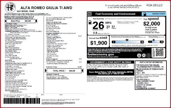 New 2021 Alfa Romeo Giulia Ti Q4 for sale $49,240 at Maserati of Greenwich in Greenwich CT 06830 2