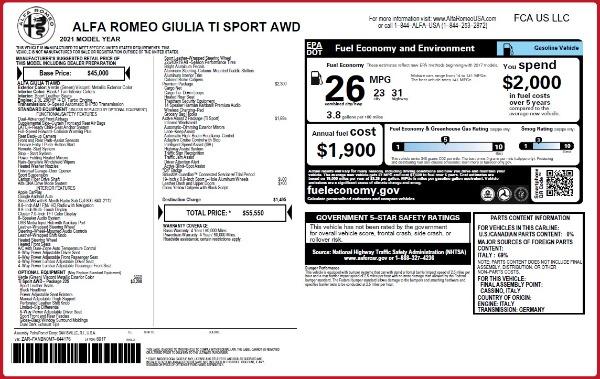 New 2021 Alfa Romeo Giulia Ti Sport Q4 for sale $55,550 at Maserati of Greenwich in Greenwich CT 06830 2
