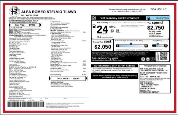 New 2021 Alfa Romeo Stelvio Ti Q4 for sale $54,000 at Maserati of Greenwich in Greenwich CT 06830 28