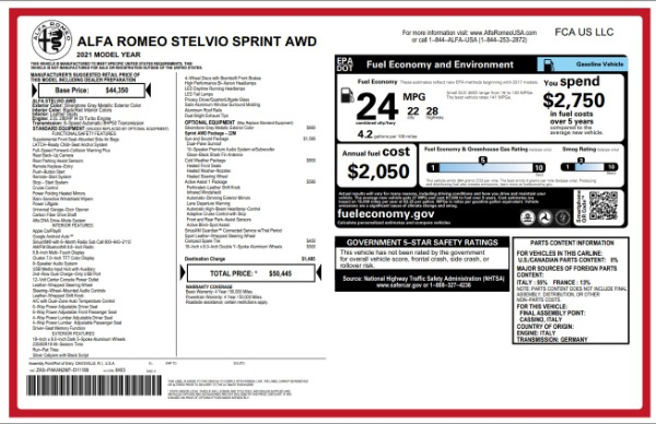 New 2021 Alfa Romeo Stelvio Q4 for sale $49,845 at Maserati of Greenwich in Greenwich CT 06830 2