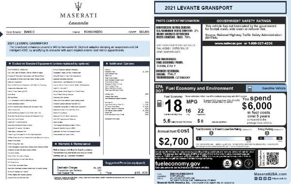 New 2021 Maserati Levante Q4 GranSport for sale $95,835 at Maserati of Greenwich in Greenwich CT 06830 20