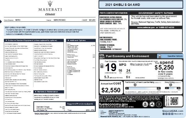 New 2021 Maserati Ghibli S Q4 for sale $86,654 at Maserati of Greenwich in Greenwich CT 06830 27