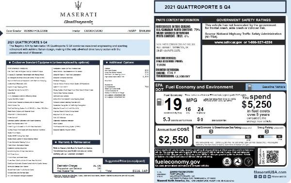 New 2021 Maserati Quattroporte S Q4 for sale $114,149 at Maserati of Greenwich in Greenwich CT 06830 26