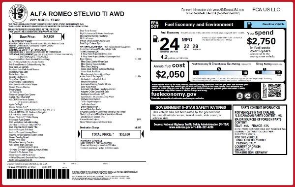 New 2021 Alfa Romeo Stelvio Ti Q4 for sale $53,650 at Maserati of Greenwich in Greenwich CT 06830 26