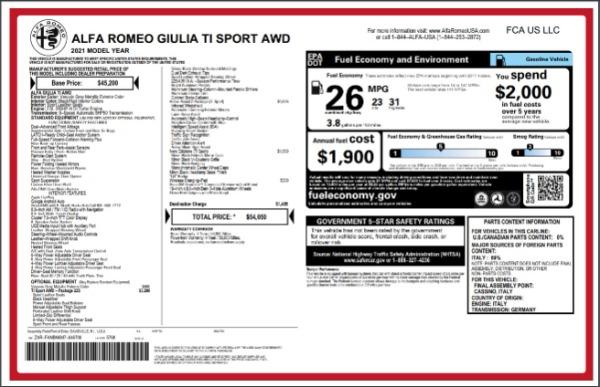New 2021 Alfa Romeo Giulia Ti Sport for sale $54,050 at Maserati of Greenwich in Greenwich CT 06830 27